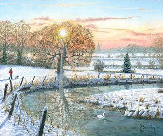 Richard Harpum: 'winter stroll', 2017 Acrylic Painting, Landscape. This painting depicts a winter scene and is based upon some photographs I took the last time we had a major snowfall in South Yorkshire, England.  My wife and I spent some time strolling along the River Ryton near Bawtry. However, it is largely made up out of my imagination. ...