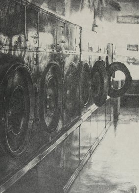 Rachel E Heberling: 'Industrial Sunset I', 2004 Lithograph, Technology.  Stone lithograph of laundromat scene. ...