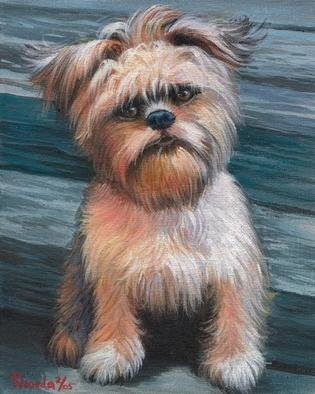 Animals Acrylic Painting by Rhonda Watson titled: Little Brussels Griffon, created in 2005