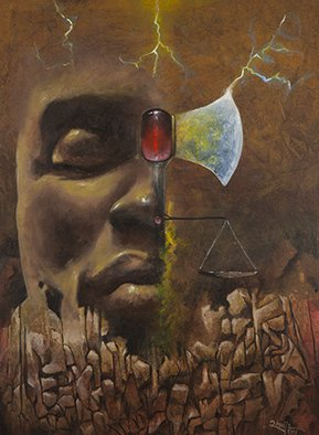 Jair Rhu�s: 'orixa xango', 2014 Acrylic Painting, Visionary. Artist Description: This is a series of works with a very personal vision of these African Divinities . . . without commitment with pre- conceived images, only a humanized and respectful representation of these High Energies...