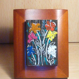 Richi Gonzalez: 'Flowers of Life', 2010 Tempera Painting, Floral. Artist Description:           Painted Over Small Matches Boxes           ...