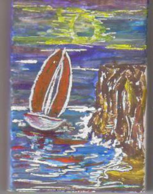 Richi Gonzalez  'Navegando En La Costa', created in 2010, Original Painting Tempera.