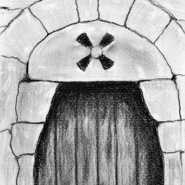 Ricardo Saraiva Artwork Medieval door , 2016 Charcoal Drawing, Architecture
