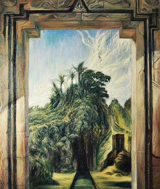 Riccardo Rossati: 'Indonesian Door', 2015 Oil Painting, Landscape.  Indonesian Door; surrealism;    ...