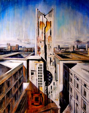 Riccardo Rossati: 'The City', 2011 Oil Painting, Surrealism.  Imaginary view of urban center.  ...