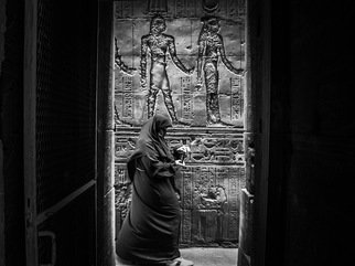 Richard Peterson: 'hieroglyphics', 2019 Black and White Photograph, Urban. Artist Description: Photo taken in the temple of Horus, Edfu  Egypt ...