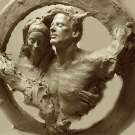 Richard Becker: 'unitled', 2003 Bronze Sculpture, Figurative. Artist Description: Jan 2003 shown in progress. I wanted to capture the wonderful journey thru life with a sole- mate, as a couple. The love, comfort, companionship, the friendship. ...