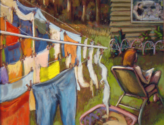 Artist Ric Hall And Ron Schmitt. 'Wash On The Line' Artwork Image, Created in 2009, Original Pastel. #art #artist