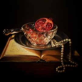 Randall Kane: 'Pearls and Pomegranites', 2006 Other Painting, Still Life. Artist Description:  Prismacolor Pencil on Bristol. ...