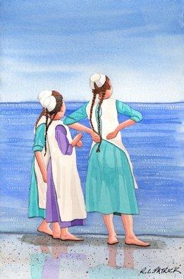 Artist: Ralph Patrick - Title: Amish Girls on Siesta Key Beach - Medium: Watercolor - Year: 2010