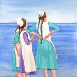 Amish Girls On Siesta Key Beach, Ralph Patrick