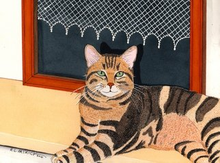 Ralph Patrick Artwork Brown Tabby in front of Window, 2014 Watercolor, Cats