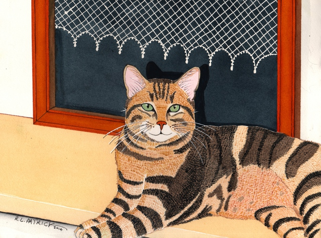 Ralph Patrick  'Brown Tabby In Front Of Window', created in 2014, Original Watercolor.