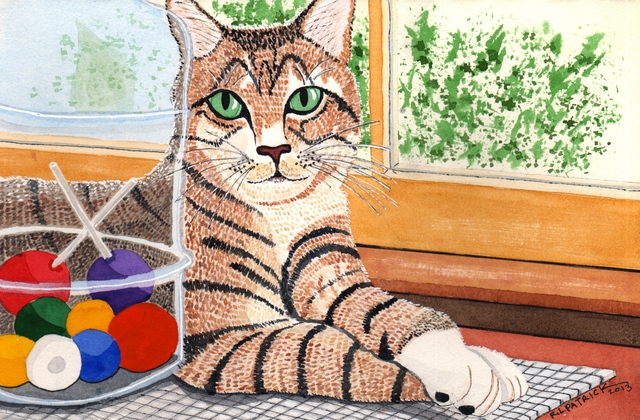 Artist Ralph Patrick. 'Cat With Candy Jar' Artwork Image, Created in 2013, Original Watercolor. #art #artist