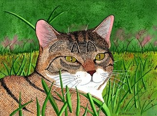 Ralph Patrick: 'Cat in the Grass', 2014 Watercolor, Cats. Artist Description:    Cats, Watercolor, Original   ...