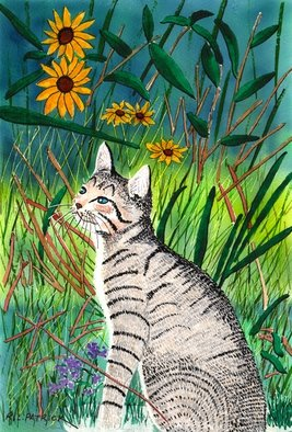 Ralph Patrick: 'Kitten in Flower Garden', 2012 Watercolor, Cats. Artist Description:   People, Beach, Watercolor, Original   Cats, Watercolor, Original  ...