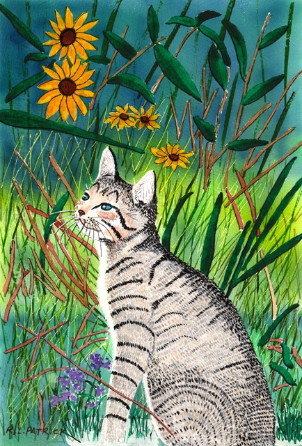 Artist Ralph Patrick. 'Kitten In Flower Garden' Artwork Image, Created in 2012, Original Watercolor. #art #artist