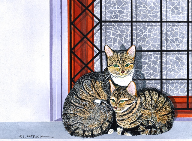 Artist Ralph Patrick. 'Mother And Kitten In Window' Artwork Image, Created in 2014, Original Watercolor. #art #artist