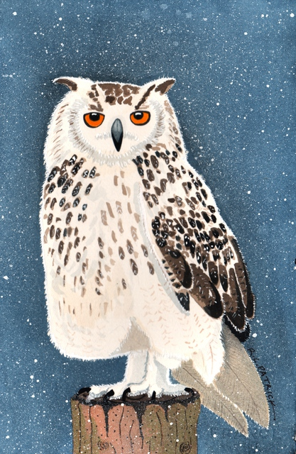 Artist Ralph Patrick. 'Snowy Owl' Artwork Image, Created in 2011, Original Watercolor. #art #artist