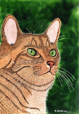 Ralph Patrick: 'Tan Tabby Portrait', 2012 Watercolor, Cats. Artist Description:  Cats, Watercolor, Original   ...