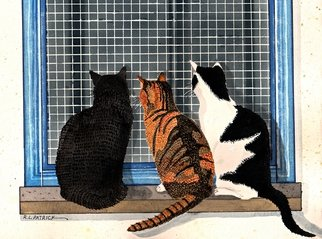 Ralph Patrick Artwork Three Cats Looking in the Window, 2014 Watercolor, Cats
