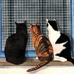 Three Cats Looking in the Window By Ralph Patrick