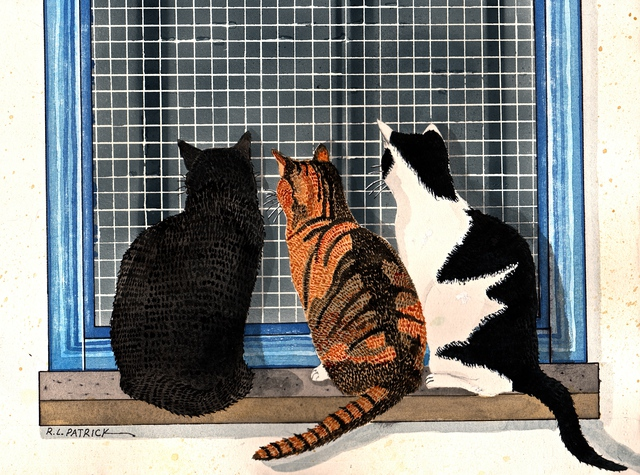 Artist Ralph Patrick. 'Three Cats Looking In The Window' Artwork Image, Created in 2014, Original Watercolor. #art #artist