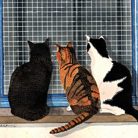 Three Cats Looking In The Window, Ralph Patrick