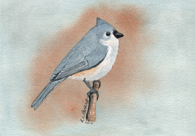 Ralph Patrick  'Tufted Titmouse', created in 2010, Original Watercolor.