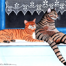 Two Tabby Cats in Window By Ralph Patrick