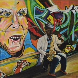 Rosa Maria Protopapa: 'on the road', 2016 Other Painting, Urban. Artist Description: sax music...