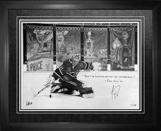 Robb Scott Artwork Carey Price Autographed Original Art, 2015 Pencil Drawing, Sports