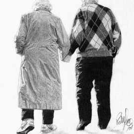 Robb Scott Artwork Hand in hand, 2001 Pencil Drawing, Love