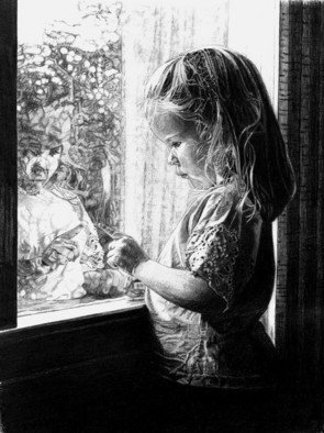 Robb Scott: 'Self Reflection', 2004 Pencil Drawing, Children.  My mother took the photo of this pencil drawing in 2004. She beautifully captured the reflection of my niece looking back her as she peers out the window. I often find myself wondering what it is she is so focused on. There is still a part of me that yearns...