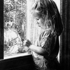 Robb Scott: 'Self Reflection', 2004 Pencil Drawing, Children. Artist Description:  My mother took the photo of this pencil drawing in 2004. She beautifully captured the reflection of my niece looking back her as she peers out the window. I often find myself wondering what it is she is so focused on. There is still a part of me ...