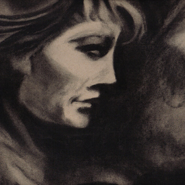 Robert Bledsaw: 'Woman in Shadows', 1989 Charcoal Drawing, Mystical. Artist Description: Inspired by a woman sitting in a cafe, behind glass at night. ...