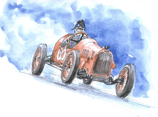 Roberto Echeverria  '100 Years Old Race Car', created in 2015, Original Watercolor.
