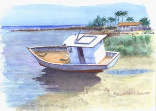 Artist: Roberto Echeverria - Title: Boat - Medium: Watercolor - Year: 2015