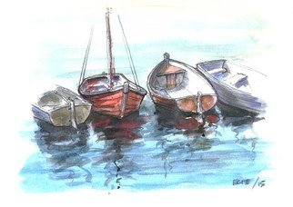 Artist: Roberto Echeverria - Title: Boats - Medium: Watercolor - Year: 2015