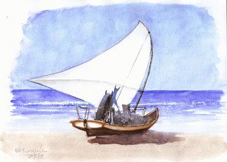 Roberto Echeverria Artwork Fishing boat, 2015 Watercolor, Boating