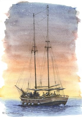 Artist: Roberto Echeverria - Title: Schooner - Medium: Watercolor - Year: 2015