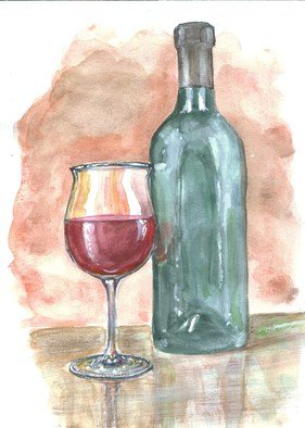 Roberto Echeverria: 'Wine Glass', 2015 Watercolor, Cuisine. Artist Description:                Watercolor on paper               ...
