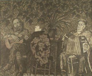 Artist: Robert Nizamov - Title: Three persons - Medium: Acrylic Painting - Year: 1998