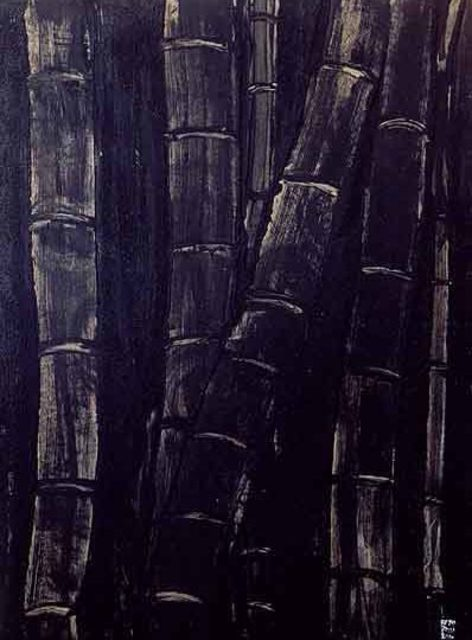 Artist Roberto Rossi. 'Bamboos In Black' Artwork Image, Created in 2001, Original Painting Acrylic. #art #artist