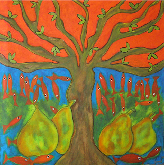 Artist Roberto Rossi. 'Fish And Pears' Artwork Image, Created in 2000, Original Painting Acrylic. #art #artist