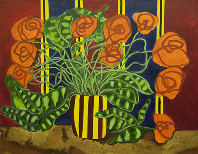 Roberto Rossi  'Flowers Vase With Stripes', created in 2010, Original Painting Acrylic.