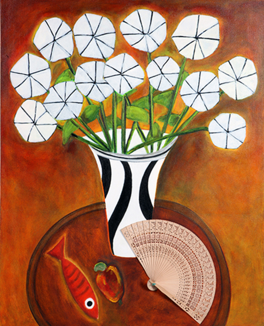 Roberto Rossi  'Vase Of Flowers And Fan', created in 2010, Original Painting Acrylic.