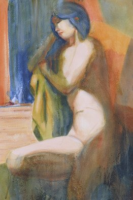 Artist: Robert P. Hedden - Title: Between Poses - Medium: Watercolor - Year: 2009