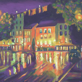 Robert P. Hedden: 'Rainy Night Old Montreal St Patricks SQ', 2010 Oil Painting, Cityscape. Artist Description:  oil, citycsape, night scene, Old Montreal, St. Patrick' s Square, reflections ...