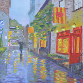 Robert P. Hedden: 'Twilight Shower Old Quebec', 2010 Oil Painting, Cityscape. Artist Description:    oil, citycsape, night scene, Old Quebec, reflections, impressionistic   ...